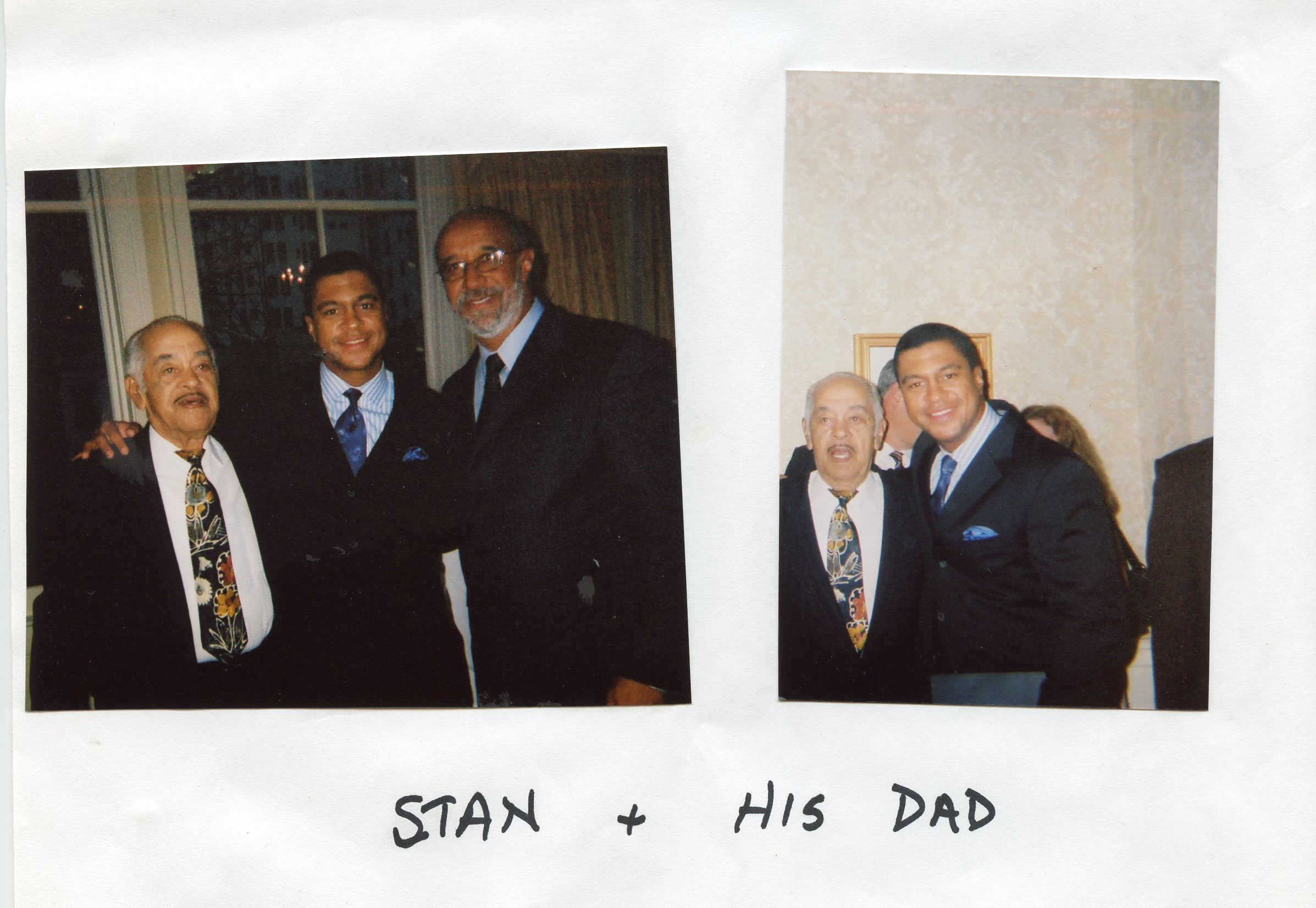Two photos of Stan with family members.